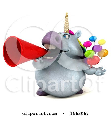 Clipart of a 3d Chubby Unicorn Holding Messages, on a White Background - Royalty Free Illustration by Julos