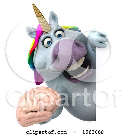 Clipart of a 3d Chubby Unicorn Holding a Brain, on a White Background - Royalty Free Illustration by Julos