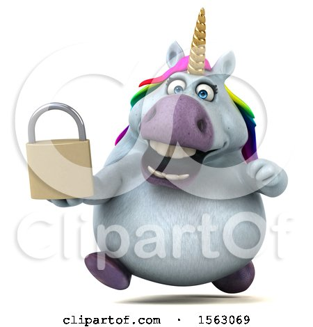 Clipart of a 3d Chubby Unicorn Holding a Padlock, on a White Background - Royalty Free Illustration by Julos