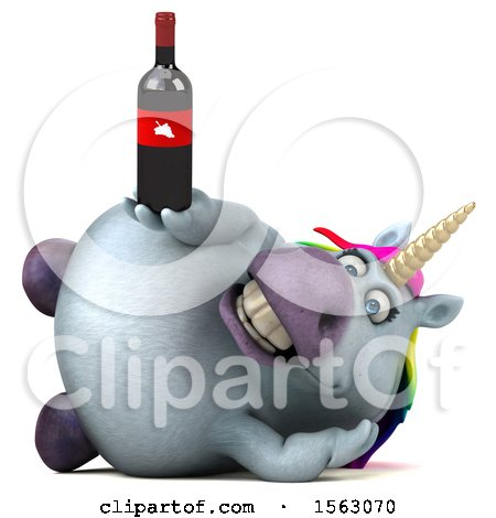 Clipart of a 3d Chubby Unicorn Holding Wine, on a White Background - Royalty Free Illustration by Julos