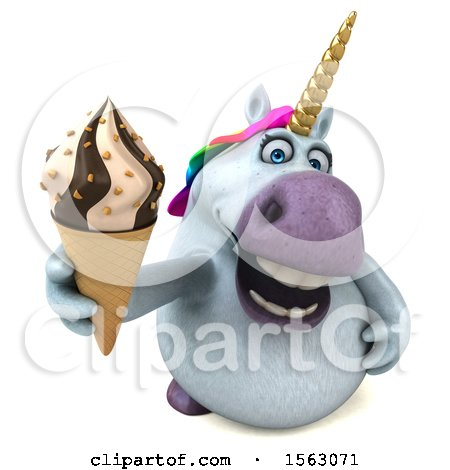 Clipart of a 3d Chubby Unicorn Holding a Waffle Cone, on a White Background - Royalty Free Illustration by Julos