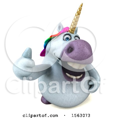Clipart of a 3d Chubby Unicorn Holding a Thumb Up, on a White Background - Royalty Free Illustration by Julos