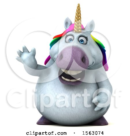 Clipart of a 3d Chubby Unicorn Waving, on a White Background - Royalty Free Illustration by Julos