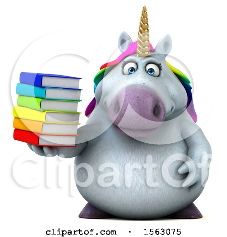 Clipart of a 3d Chubby Unicorn Holding Books, on a White Background - Royalty Free Illustration by Julos