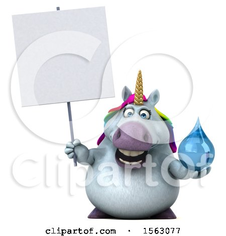 Clipart of a 3d Chubby Unicorn Holding a Water Drop, on a White Background - Royalty Free Illustration by Julos
