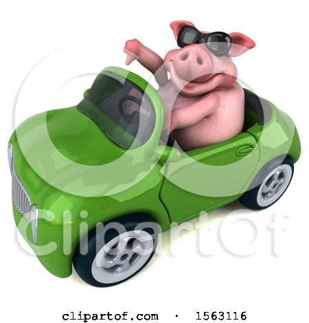 Clipart of a 3d Chubby Pig Driving a Convertible, on a White Background - Royalty Free Illustration by Julos