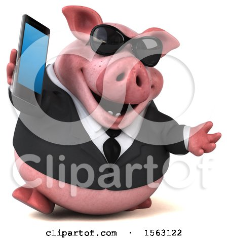 Clipart of a 3d Chubby Business Pig Holding a Cell Phone, on a White Background - Royalty Free Illustration by Julos