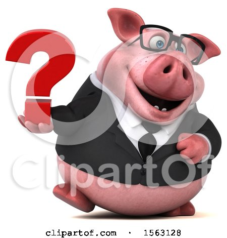 Clipart of a 3d Chubby Business Pig Holding a Question Mark, on a White Background - Royalty Free Illustration by Julos