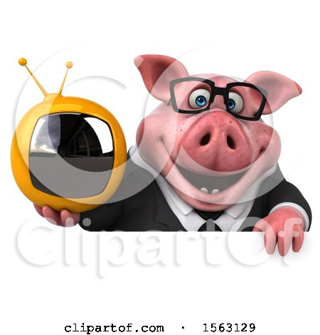 Clipart of a 3d Chubby Business Pig Holding a Tv, on a White Background - Royalty Free Illustration by Julos