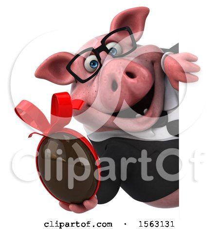 Clipart of a 3d Chubby Business Pig Holding a Chocolate Egg, on a White Background - Royalty Free Illustration by Julos