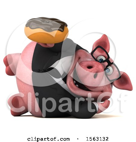 Clipart of a 3d Chubby Business Pig Holding a Donut, on a White Background - Royalty Free Illustration by Julos