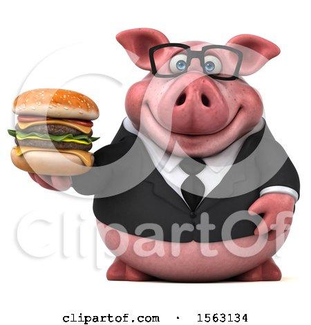 Clipart of a 3d Chubby Business Pig Holding a Burger, on a White Background - Royalty Free Illustration by Julos