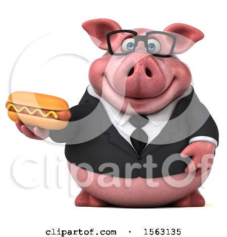 Clipart of a 3d Chubby Business Pig Holding a Hot Dog, on a White Background - Royalty Free Illustration by Julos