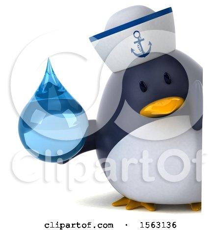Clipart of a 3d Chubby Penguin Sailor Holding a Water Drop, on a White Background - Royalty Free Illustration by Julos