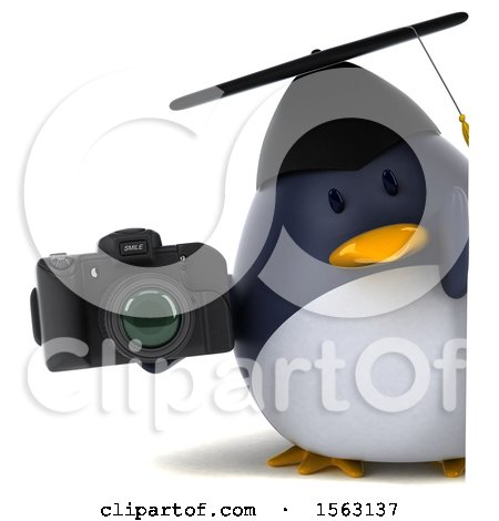 Clipart of a 3d Chubby Penguin Graduate Holding a Camera, on a White Background - Royalty Free Illustration by Julos