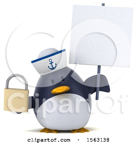 Clipart of a 3d Chubby Penguin Sailor Holding a Padlock, on a White Background - Royalty Free Illustration by Julos
