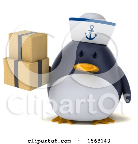 Clipart of a 3d Chubby Penguin Sailor Holding Boxes, on a White Background - Royalty Free Illustration by Julos