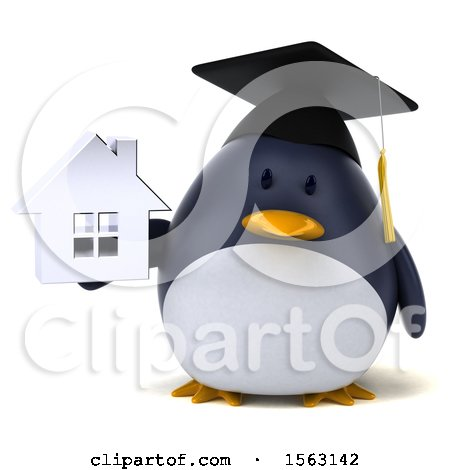 Clipart of a 3d Chubby Penguin Graduate Holding a House, on a White Background - Royalty Free Illustration by Julos