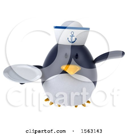 Clipart of a 3d Chubby Penguin Sailor Holding a Plate, on a White Background - Royalty Free Illustration by Julos