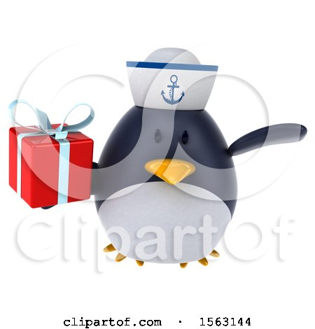Clipart of a 3d Chubby Penguin Sailor Holding a Gift, on a White Background - Royalty Free Illustration by Julos