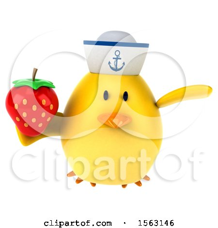 Clipart of a 3d Yellow Bird Sailor Holding a Strawberry, on a White Background - Royalty Free Illustration by Julos