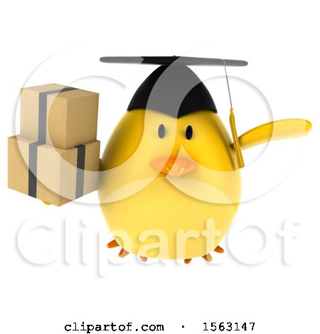 Clipart of a 3d Yellow Bird Graduate Holding Boxes, on a White Background - Royalty Free Illustration by Julos
