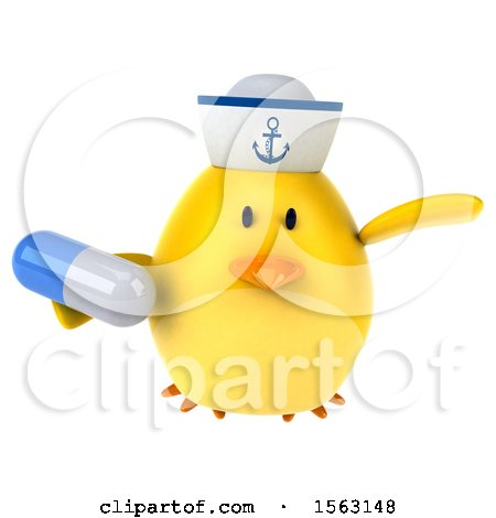 Clipart of a 3d Yellow Bird Sailor Holding a Pill, on a White Background - Royalty Free Illustration by Julos