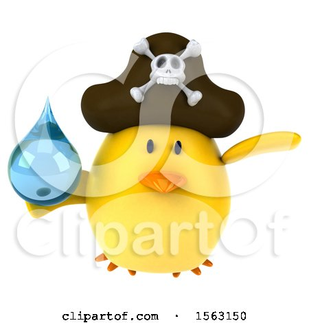 Clipart of a 3d Yellow Bird Pirate Holding a Water Drop, on a White Background - Royalty Free Illustration by Julos