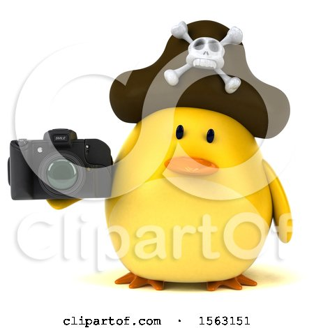 Clipart of a 3d Yellow Bird Pirate Holding a Camera, on a White Background - Royalty Free Illustration by Julos
