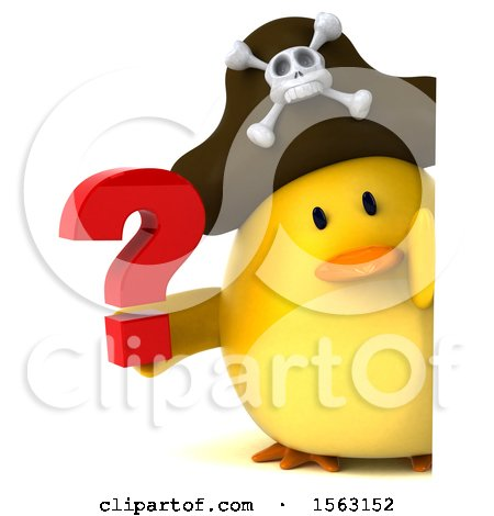 Clipart of a 3d Yellow Bird Pirate Holding a Question Mark, on a White Background - Royalty Free Illustration by Julos