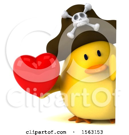 Clipart of a 3d Yellow Bird Pirate Holding a Heart, on a White Background - Royalty Free Illustration by Julos