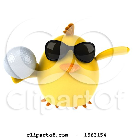 Clipart of a 3d Yellow Bird Holding a Golf Ball, on a White Background - Royalty Free Illustration by Julos