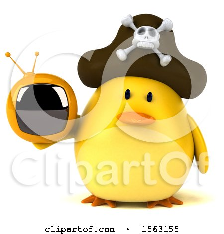 Clipart of a 3d Yellow Bird Pirate Holding a Tv, on a White Background - Royalty Free Illustration by Julos