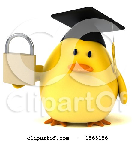 Clipart of a 3d Yellow Bird Graduate Holding a Padlock, on a White Background - Royalty Free Illustration by Julos
