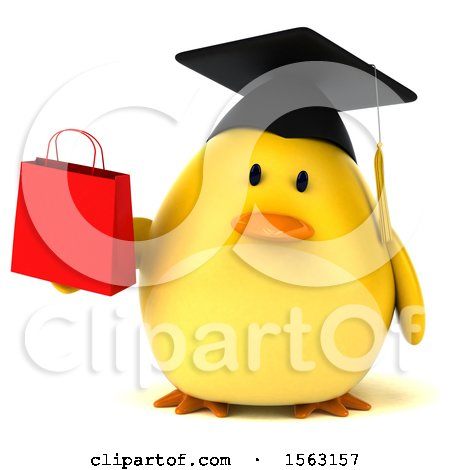 Clipart of a 3d Yellow Bird Graduate Holding a Shopping Bag, on a White Background - Royalty Free Illustration by Julos