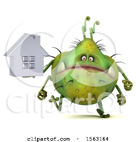 Clipart of a 3d Green Germ Monster Holding a House, on a White Background - Royalty Free Illustration by Julos