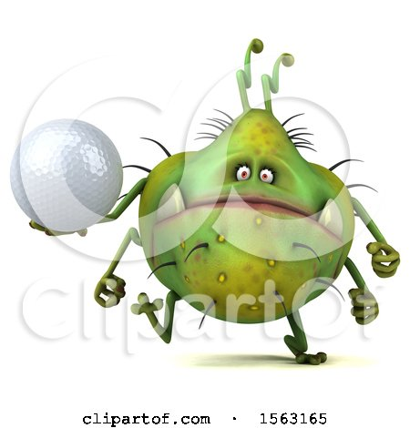 Clipart of a 3d Green Germ Monster Holding a Golf Ball, on a White Background - Royalty Free Illustration by Julos