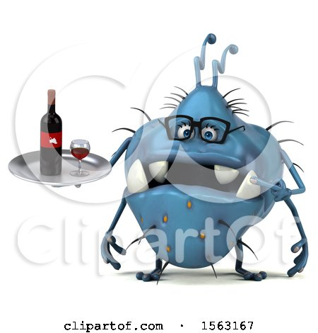 Clipart of a 3d Blue Germ Monster Holding Wine, on a White Background - Royalty Free Illustration by Julos