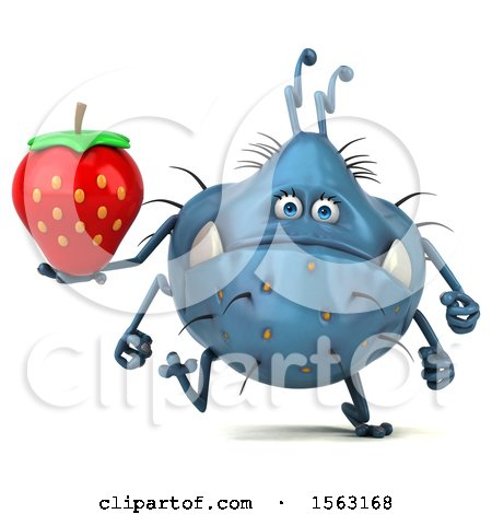 Clipart of a 3d Blue Germ Monster Holding a Strawberry, on a White Background - Royalty Free Illustration by Julos