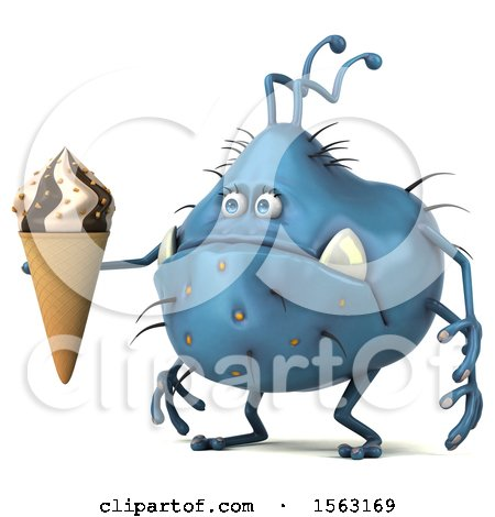 Clipart of a 3d Blue Germ Monster Holding a Waffle Cone, on a White Background - Royalty Free Illustration by Julos