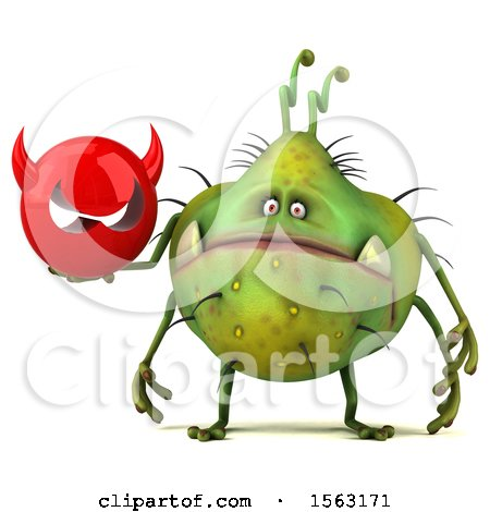 Clipart of a 3d Green Germ Monster Holding a Devil, on a White Background - Royalty Free Illustration by Julos