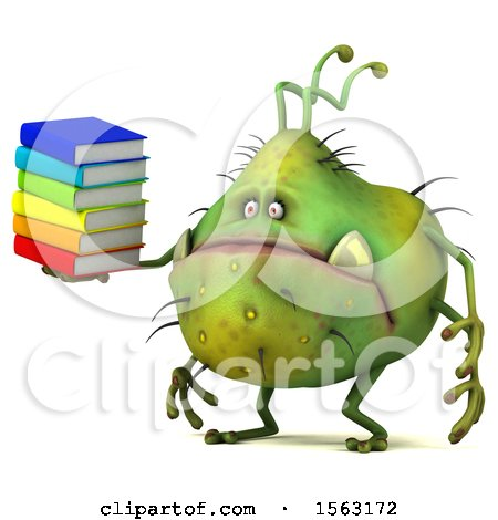 Clipart of a 3d Green Germ Monster Holding Books, on a White Background - Royalty Free Illustration by Julos