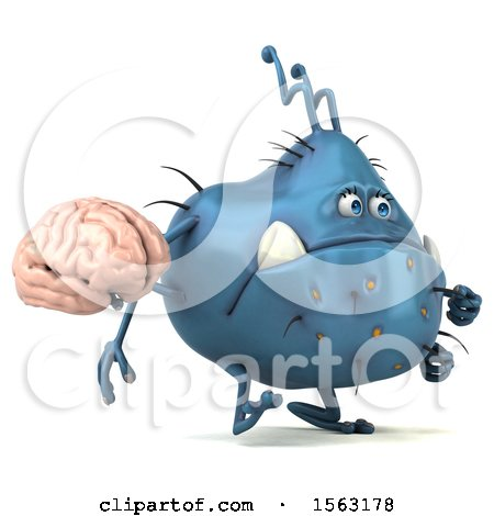 Clipart of a 3d Blue Germ Monster Holding a Brain, on a White Background - Royalty Free Illustration by Julos