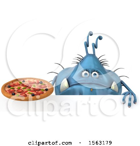 Clipart of a 3d Blue Germ Monster Holding a Pizza, on a White Background - Royalty Free Illustration by Julos