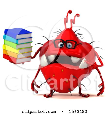 Clipart of a 3d Red Germ Monster Holding Books, on a White Background - Royalty Free Illustration by Julos