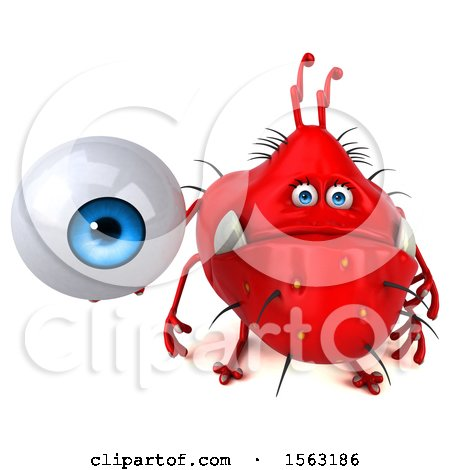 Clipart of a 3d Red Germ Monster Holding an Eyeball, on a White Background - Royalty Free Illustration by Julos