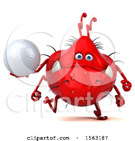 Clipart of a 3d Red Germ Monster Holding a Golf Ball, on a White Background - Royalty Free Illustration by Julos