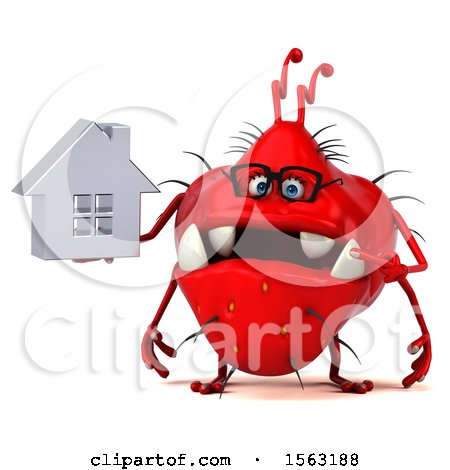 Clipart of a 3d Red Germ Monster Holding a House, on a White Background - Royalty Free Illustration by Julos