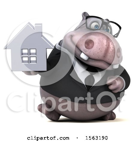 Clipart of a 3d Business Hippo Holding a House, on a White Background - Royalty Free Illustration by Julos