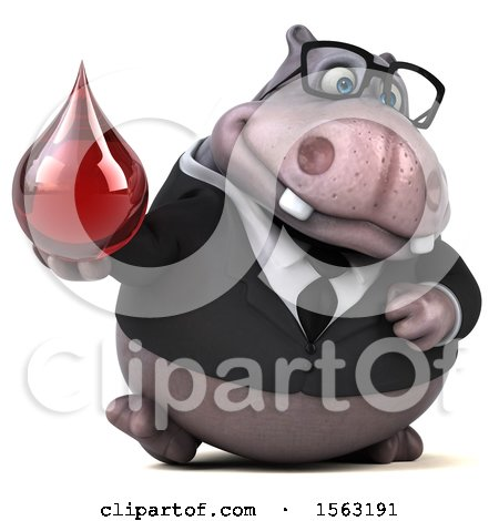 Clipart of a 3d Business Hippo Holding a Blood Drop, on a White Background - Royalty Free Illustration by Julos